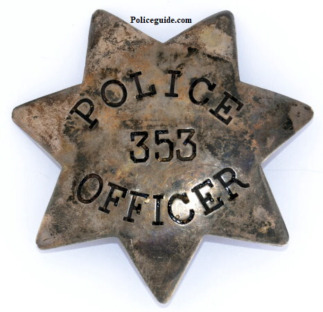 San Francisco Police badge #353, issued to Louis H. Young on July 16, 1883.  Thanks to Lou Tercero for researching the files.