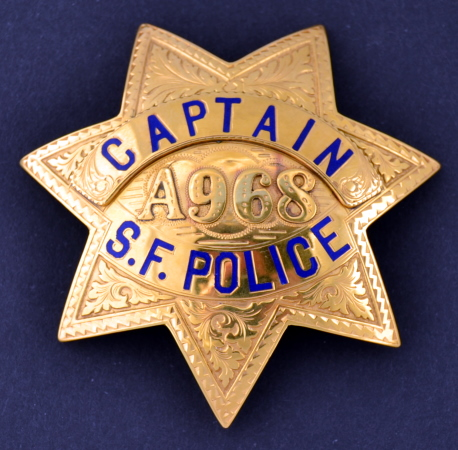 14k gold San Francisco Police Captain Retirement badge A968 made by Irvine & Jachens S. F.