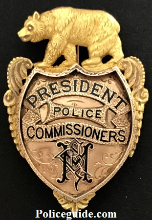 Major R. P. Hammond's 14k & 18k gold presentation badge, President Police Commissioners.  Initials in monogram N P H.