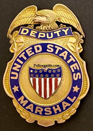 Deputy U. S. Marshal badge worn by Lawrence McInerney circa 1944.
