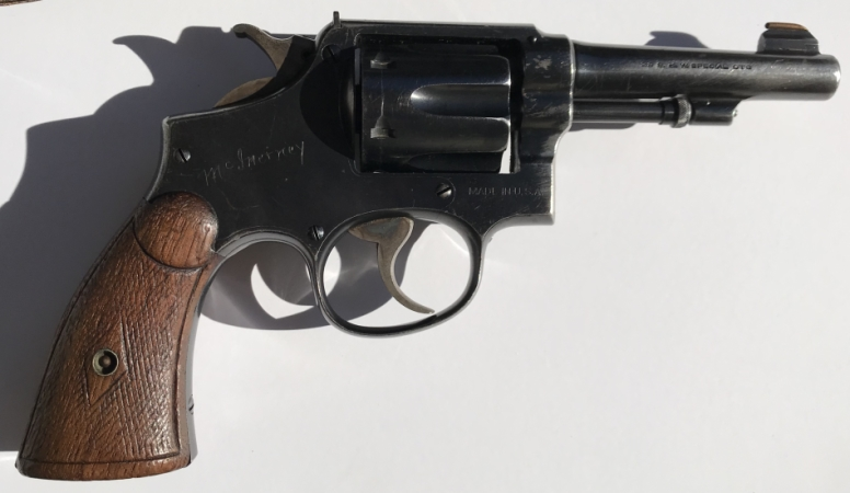 "Lawrence McInerney's Smith & Wesson .38 Military & Police Model of 1905 Fourth Change which occured in 1915 and was produced until 1942.  It was shipped from the factory on February 23, 1925 with a 4"" barrel, blue finish, and checkered walnut square butt grips."