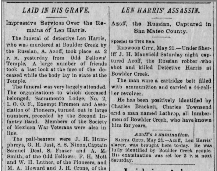Sac Bee May 21 1894 Assassin Captured by Mansfield