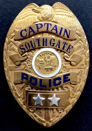 Captain South Gate Police.  Hallmarked Carl Entenmann Jewelry Co Los Angeles.  Rivet back and Bent Wire.