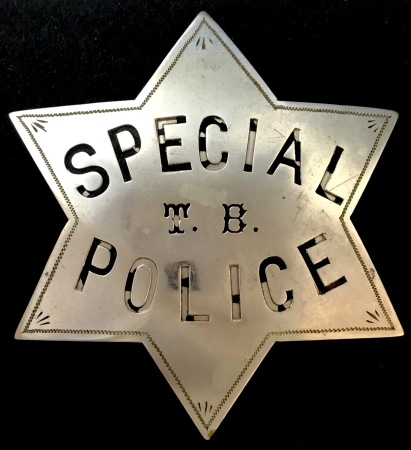Early San Francisco Special Police T. B. badge made of nickel silver by G. M. Woods & Co. Engravers 543 California St. S.F.  The Woods Company was in business from 1956 to 1906.