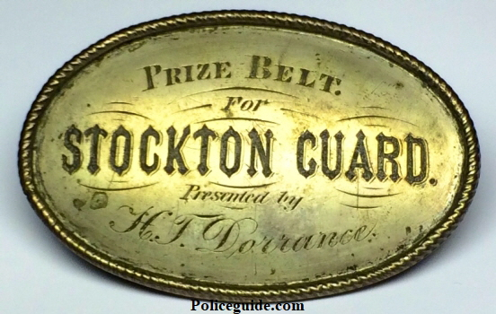 Sterling silver Prize Belt for the Stockton Guard presented by H. T. Dorrance, Stockton pioneer and merchant who arrived in Stockton in 1850 and had a Harness and Saddle business.