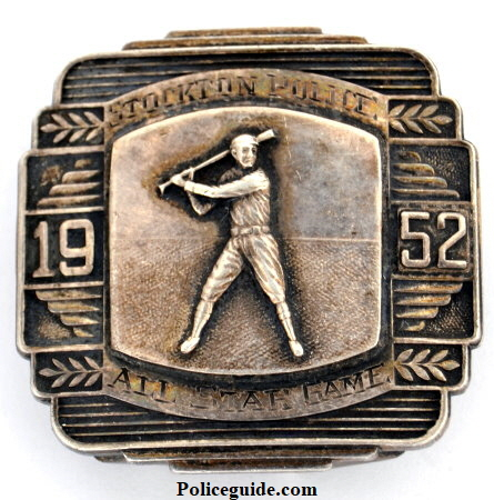 2 ounces of silver were used to create this 1952 Stockton Police All Star Game buckle.