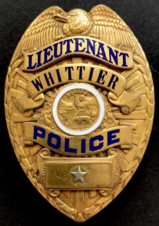Lieutenant Whittier Police.  Hallmarked Carl Entenmann Jewelry Co Los Angeles.  Rivet back and Bent Wire.