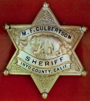 Inyo Co. Sheriff Cub Culbertson's personal badge.